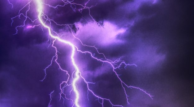 Bright Purple Lightning Flash